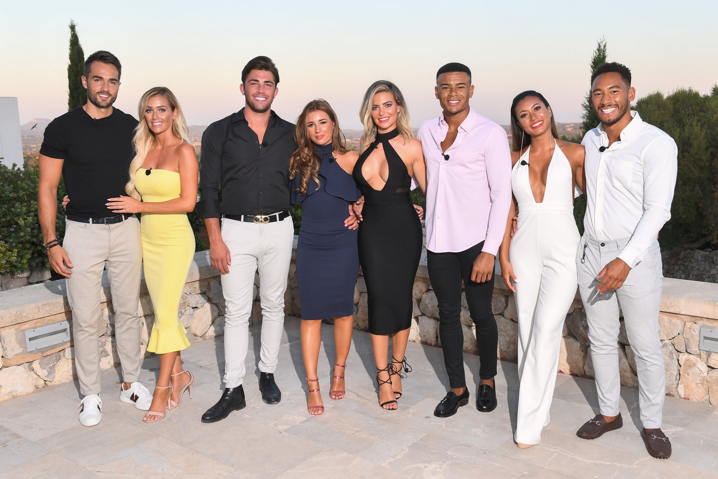 Editorial Use Only. No Merchandising. No Commercial Use Mandatory Credit: Photo by James Gourley/ITV/REX/Shutterstock (9773969d) Paul Knops, Laura Anderson, Jack Fincham, Dani Dyer, Wes Nelson, Megan Barton Hanson, Kazimir Crossley and Josh Denzel 'Love Island' TV Show, Series 4, Episode 57, The Final, Majorca, Spain - 30 Jul 2018