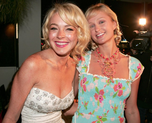 Lindsay Lohan and Paris Hilton during homesource/los angeles and Barclay Butera Host a Reception Previewing Selected Auction Items From the Estate of the Legendary Marilyn Monroe at Meson G in Los Angeles, California, United States. (Photo by Chris Polk/FilmMagic)