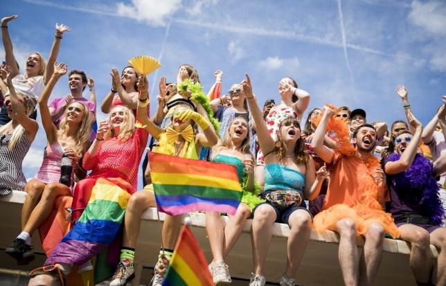 Crowds watching the Brighton Pride parade