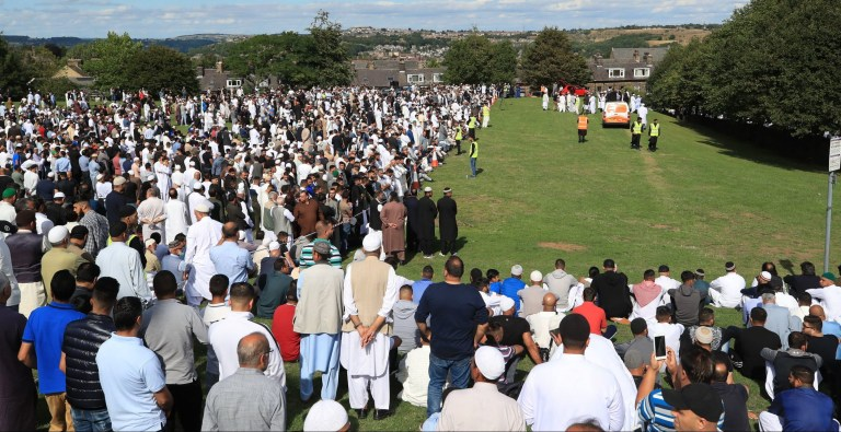 Mourners gather at the Manningham Mills Association in Bradford ahead of the funerals of Murtza Chaudhry, Arbaaz Hussain, Zeeshan Khalid and Tayyab Siddique, four young friends who died when their car collided with a tree while being pursued by the police. PRESS ASSOCIATION Photo. Picture date: Saturday August 4, 2018. See PA story FUNERAL Crash. Photo credit should read: Peter Byrne/PA Wire