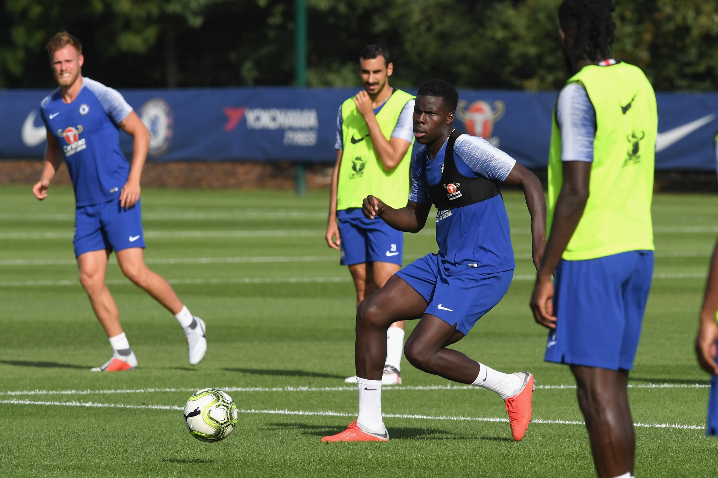COBHAM, ENGLAND - AUGUST 06: Kurt Zouma of Chelsea during a training session at Chelsea Training Ground on August 6, 2018 in Cobham, England. (Photo by Darren Walsh/Chelsea FC via Getty Images)