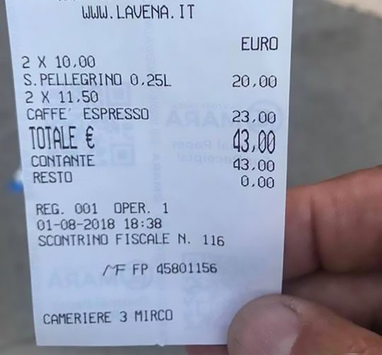 """Pic Shows: The bill of Venice bar;A group of tourists were left stunned when they were charged 43 EUR (38.40 GBP) for two cups of coffee and two bottles of water.The astronomical bill was charged by the Caffe Lavena on the iconic St Mark's Square in the city of Venice, north-eastern Italy.Tourist Juan Carlos Bustamente, 62, was so shocked that he shared a photo of the itemised bill on social media.It showed that he had been charged 11.50 EUR (10.30 GBP) for each cup of coffee, and 10 EUR (8.90 GBP) for each 25 cl bottle of water.The Caffe Lavena enjoys one of the prime spots in Venice, one of the world's most popular tourist cities, but Mr Bustamente was still taken aback by the size of the bill.He said: """"I don't know what you think but 43 euros for two coffees and two bottles of water!""""Many online commentators were shocked, including netizen 'Vincenzo Cuius Iuculano' who said: """"This is theft - shame!!!""""However, a spokesman for the Caffe Lavena was unrepentant and said that customers paid a premium to sit outside on St Mark's Square.He said: """"People get annoyed when the bill arrives because they do not listen when we hand them the menu even though it states clearly enough that prices are higher to sit outside. They just wave us away and if we insist they get irritated.""""If they just want a coffee they can have it at the bar for 1.25 EUR. If they want to sit outside and enjoy the music of the orchestra, look at the bell tower and the Basilica of St Mark???s, then they are paying for an entirely different experience.""""Venice, which is situated across a group of 118 small islands, is regarded as one of the world's most beautiful cities.Last month, a group of tourists were shocked after they were forced to pay 52 euros (46 GBP) for four soft drinks in a bar in the resort town of San Antonio on the Spanish party island of Ibiza."""