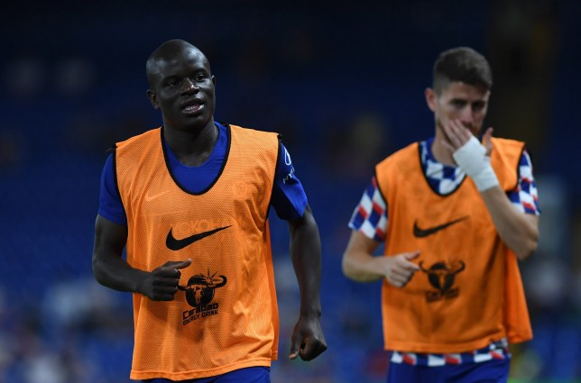LONDON, ENGLAND - AUGUST 07: N'golo Kante of Chelsea and Gary Cahill of Chelsea warms up during the pre-season friendly match between Chelsea and Lyon at Stamford Bridge on August 7, 2018 in London, England. (Photo by Darren Walsh/Chelsea FC via Getty Images)