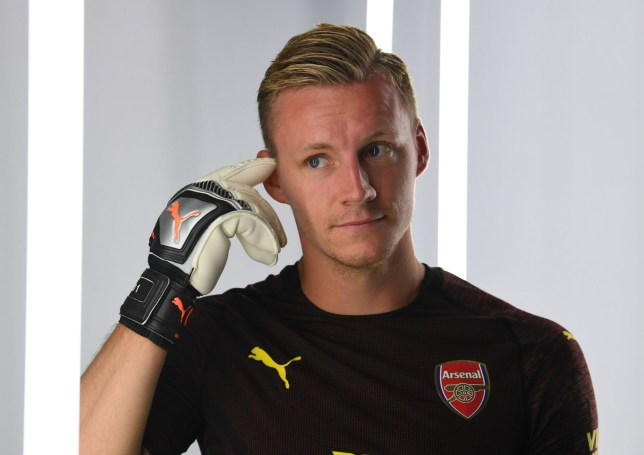 ST ALBANS, ENGLAND - AUGUST 08: Bernd Leno of Arsenal during the Arsenal 1st team photocall at London Colney on August 8, 2018 in St Albans, England. (Photo by David Price/Arsenal FC via Getty Images)