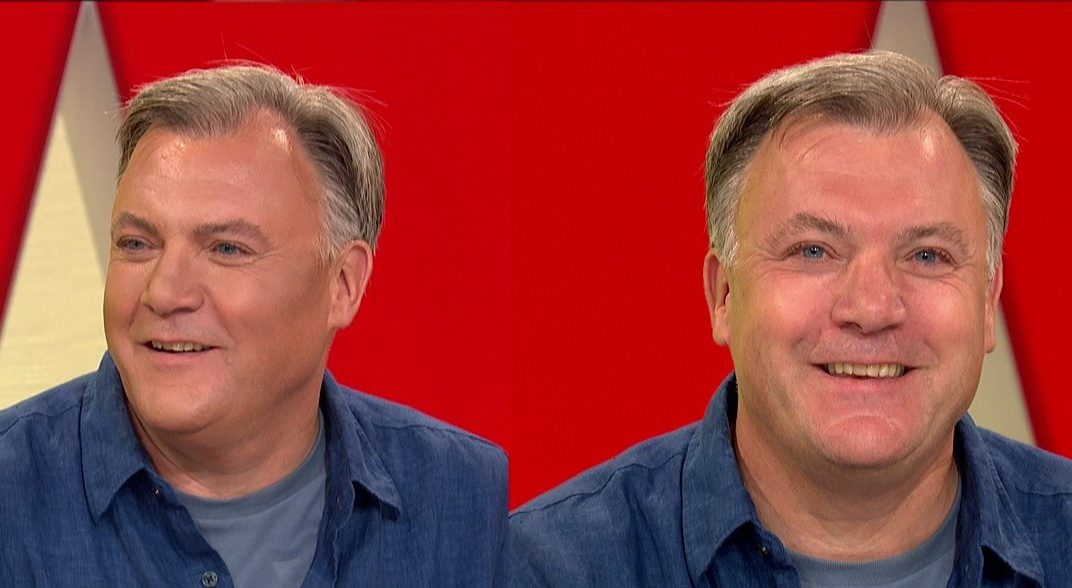 Ed Balls has his face contoured on 'Loose Women'. Broadcast on ITV1 Featuring: Ed Balls When: 10 Aug 2018 Credit: Supplied by WENN **WENN does not claim any ownership including but not limited to Copyright, License in attached material. Fees charged by WENN are for WENN's services only, do not, nor are they intended to, convey to the user any ownership of Copyright, License in material. By publishing this material you expressly agree to indemnify, to hold WENN, its directors, shareholders, employees harmless from any loss, claims, damages, demands, expenses (including legal fees), any causes of action, allegation against WENN arising out of, connected in any way with publication of the material.**