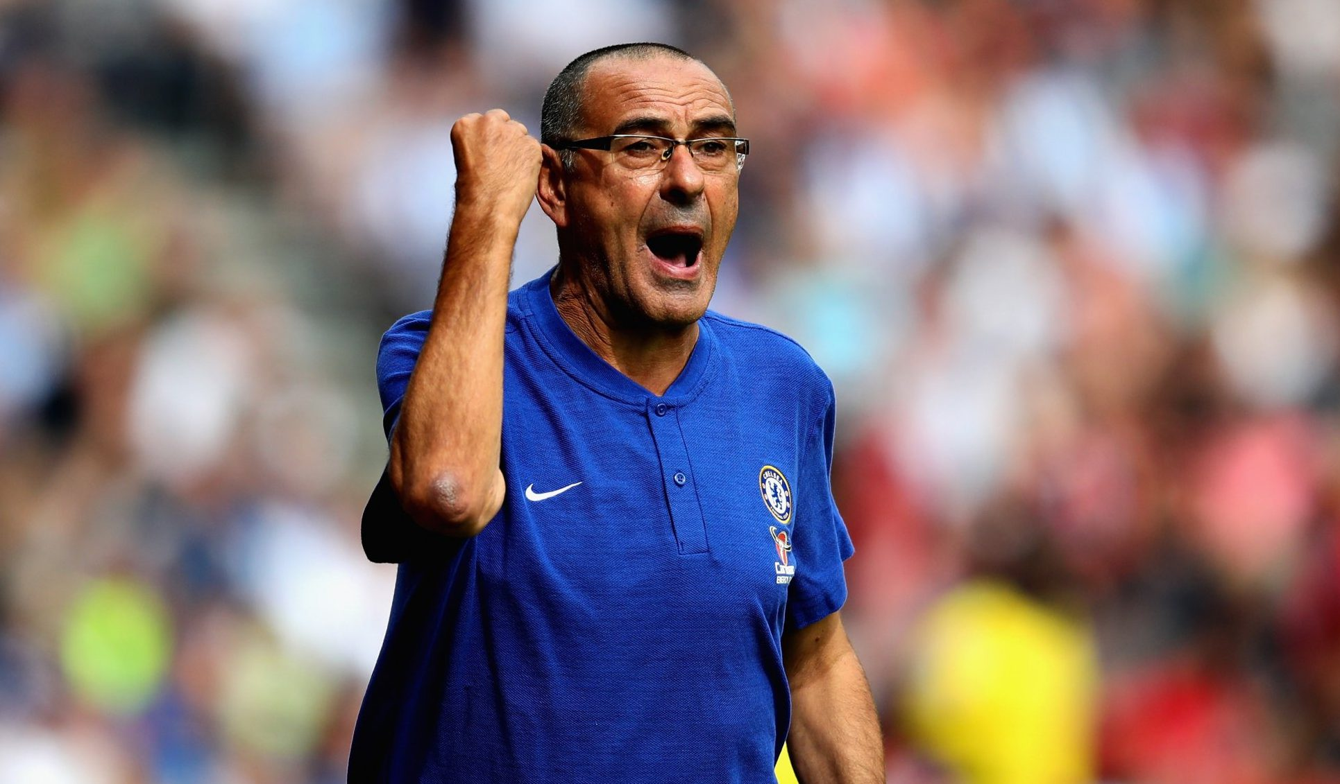 HUDDERSFIELD, ENGLAND - AUGUST 11: Chelsea manager Maurizio Sarri reacts during the Premier League match between Huddersfield Town and Chelsea FC at John Smith's Stadium on August 11, 2018 in Huddersfield, United Kingdom. (Photo by Chris Brunskill/Fantasista/Getty Images)