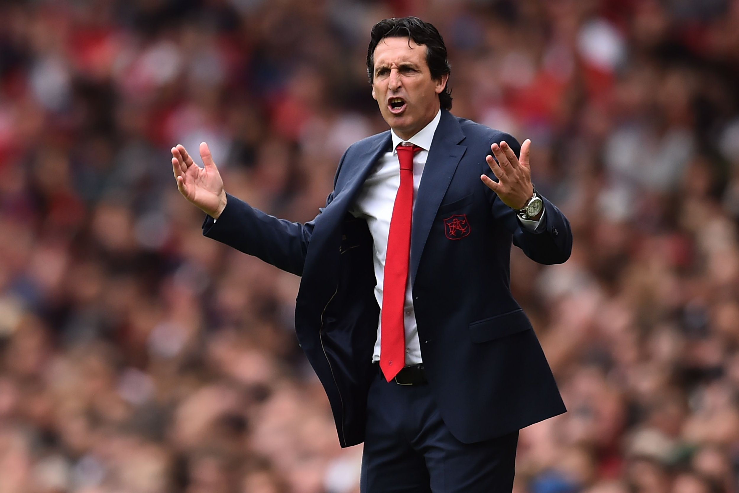 Arsenal's Spanish head coach Unai Emery gestures to Arsenal's German midfielder Mesut Ozil (L) on the touchline during the English Premier League football match between Arsenal and Manchester City at the Emirates Stadium in London on August 12, 2018. (Photo by Glyn KIRK / AFP) / RESTRICTED TO EDITORIAL USE. No use with unauthorized audio, video, data, fixture lists, club/league logos or 'live' services. Online in-match use limited to 120 images. An additional 40 images may be used in extra time. No video emulation. Social media in-match use limited to 120 images. An additional 40 images may be used in extra time. No use in betting publications, games or single club/league/player publications. / GLYN KIRK/AFP/Getty Images