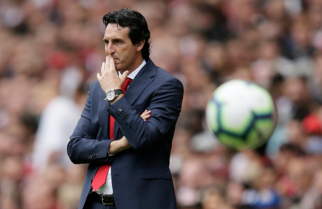 Arsenal manager Unai Emery watches from the sidelines during the English Premier League soccer match between Arsenal and Manchester City at the Emirates stadium in London, England, Sunday, Aug. 12, 2018. (AP Photo/Tim Ireland)
