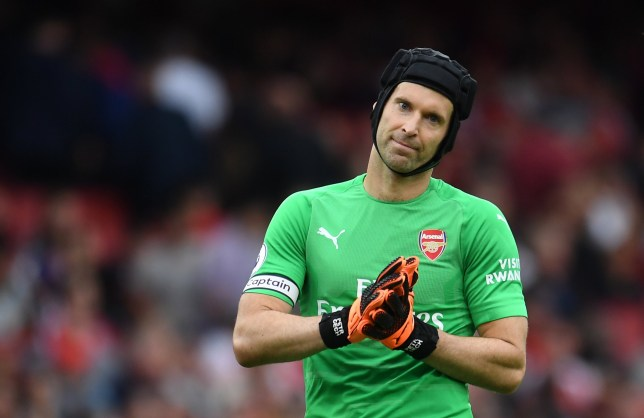 epa06946190 Arsenal goalkeeper Petr Cech reacts during the English Premier League soccer match between Arsenal FC and Manchester City at the Emirates Stadium in London, Britain, 12 August 2018. EPA/ANDY RAIN EDITORIAL USE ONLY. No use with unauthorized audio, video, data, fixture lists, club/league logos or 'live' services. Online in-match use limited to 75 images, no video emulation. No use in betting, games or single club/league/player publications.
