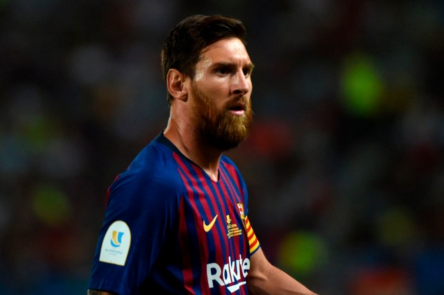 Barcelona's Argentinian forward Lionel Messi looks on during the Spanish Super Cup final between Sevilla and FC Barcelona at Ibn Batouta stadium in the Moroccan city of Tangiers on August 12, 2018. (Photo by FADEL SENNA / AFP)FADEL SENNA/AFP/Getty Images