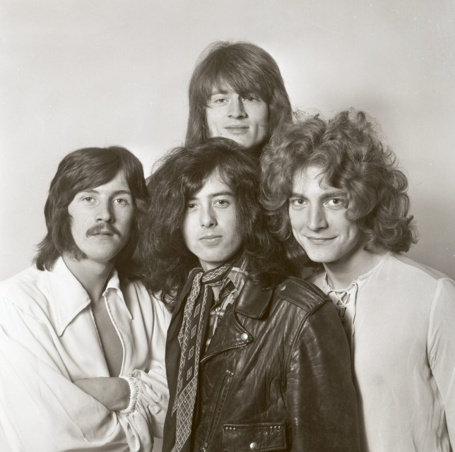 UNITED KINGDOM - DECEMBER 01: Photo of LED ZEPPELIN; L-R: John Bonham, Jimmy Page (bottom), John Paul Jones (top), Robert Plant, studio, posed, group shot, half length in London in December 1968. (Photo by Dick Barnatt/Redferns)
