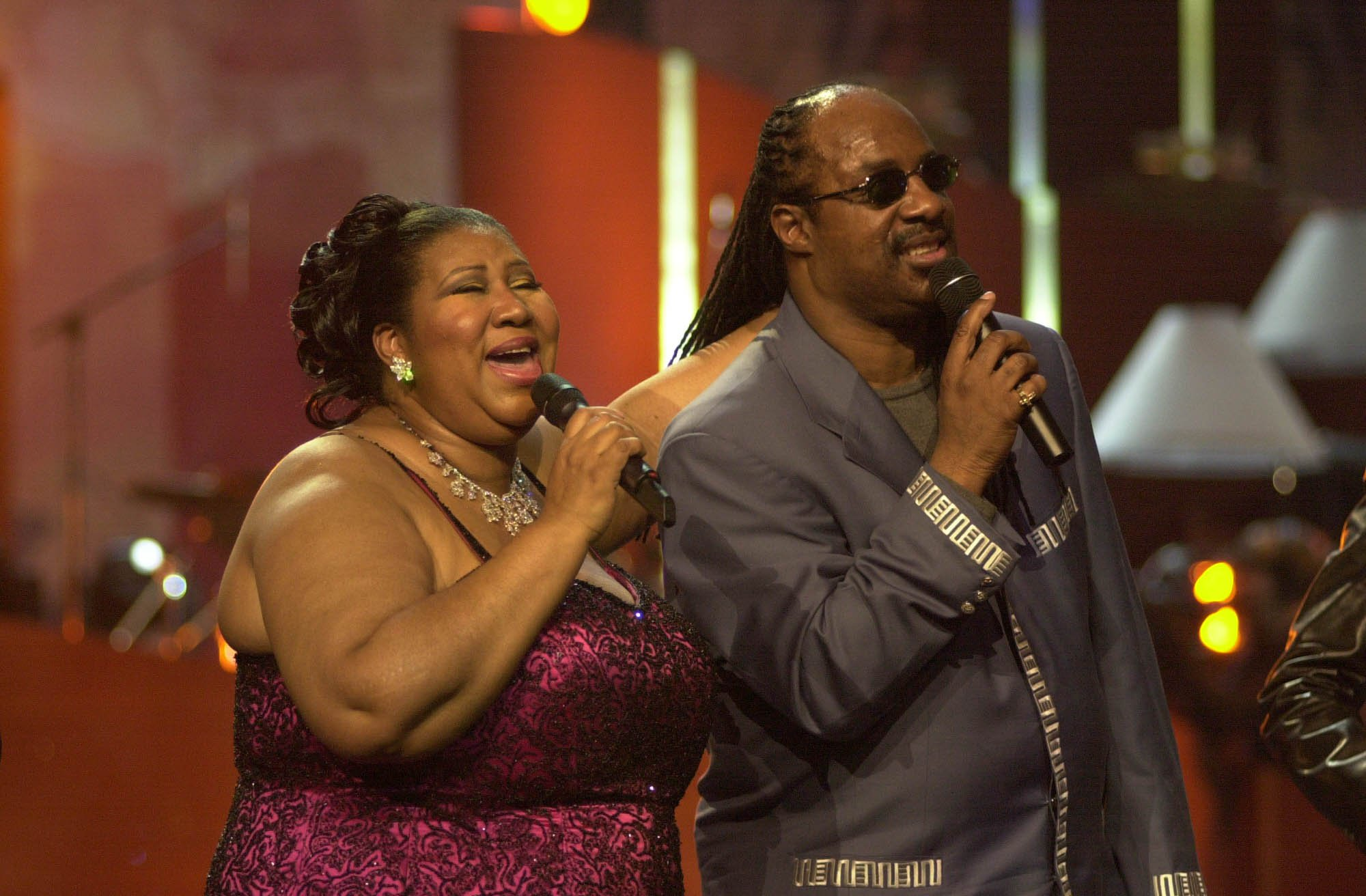"Aretha Franklin & Stevie Wonder during VH1 Presents: ""Divas Live: The One and Only Aretha Franklin"" at Radio City Music Hall in New York City, New York, United States. (Photo by KMazur/WireImage)"