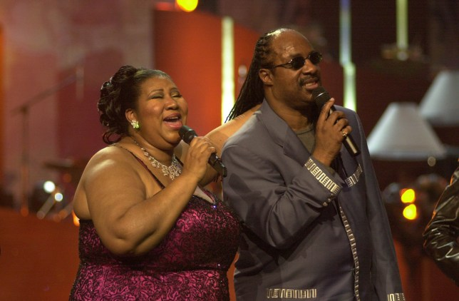 """Aretha Franklin & Stevie Wonder during VH1 Presents: """"Divas Live: The One and Only Aretha Franklin"""" at Radio City Music Hall in New York City, New York, United States. (Photo by KMazur/WireImage)"""