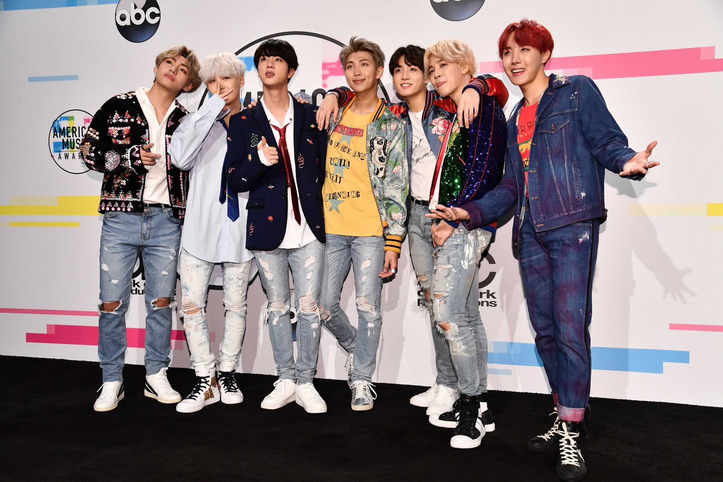 Mandatory Credit: Photo by Rob Latour/REX/Shutterstock (9229095bb) BTS - Jungkook, Jimin, V, Suga, Jin, J-Hope and Rap Monster American Music Awards, Press Room, Los Angeles, USA - 19 Nov 2017