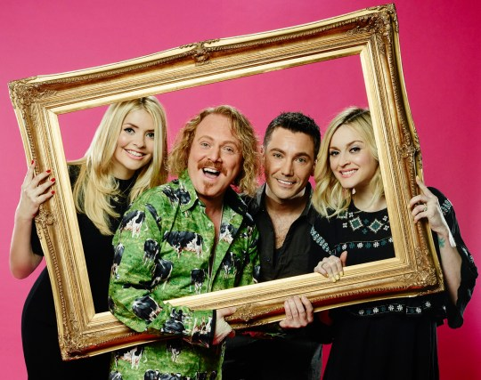 Television Programme: Celebrity Juice with Holly Willoughby, Keith Lemon, Gino D'Acampo and Fearne Cotton. This photograph is (C) Talkback and can only be reproduced for editorial purposes directly in connection with the programme or event mentioned above or ITV plc. Once made available by ITV plc Picture Desk, this photograph can be reproduced once only up until the transmission [TX] date and no reproduction fee will be charged. Any subsequent usage may incur a fee. This photograph must not be manipulated [excluding basic cropping] in a manner which alters the visual appearance of the person photographed deemed detrimental or inappropriate by ITV plc Picture Desk. This photograph must not be syndicated to any other company, publication or website, or permanently archived, without the express written permission of ITV Plc Picture Desk. Full Terms and conditions are available on the website www.itvpictures.com For further information please contact: james.hilder@itv.com / 0207 157 3052 From Talkback Celebrity Juice: SR15 on ITV2