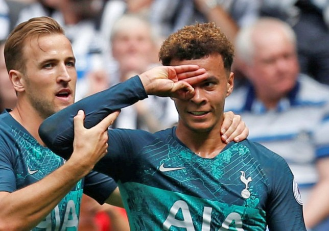 """Soccer Football - Premier League - Newcastle United v Tottenham Hotspur - St James' Park, Newcastle, Britain - August 11, 2018 Tottenham's Dele Alli celebrates scoring their second goal with Harry Kane Action Images via Reuters/Ed Sykes EDITORIAL USE ONLY. No use with unauthorized audio, video, data, fixture lists, club/league logos or """"live"""" services. Online in-match use limited to 75 images, no video emulation. No use in betting, games or single club/league/player publications. Please contact your account representative for further details."""