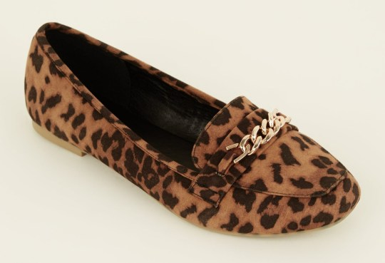 e2e318a97c58e8 New Look Wide Fit Tan Leopard Print Chain Loafers – £19.99 (Picture: New  Look)