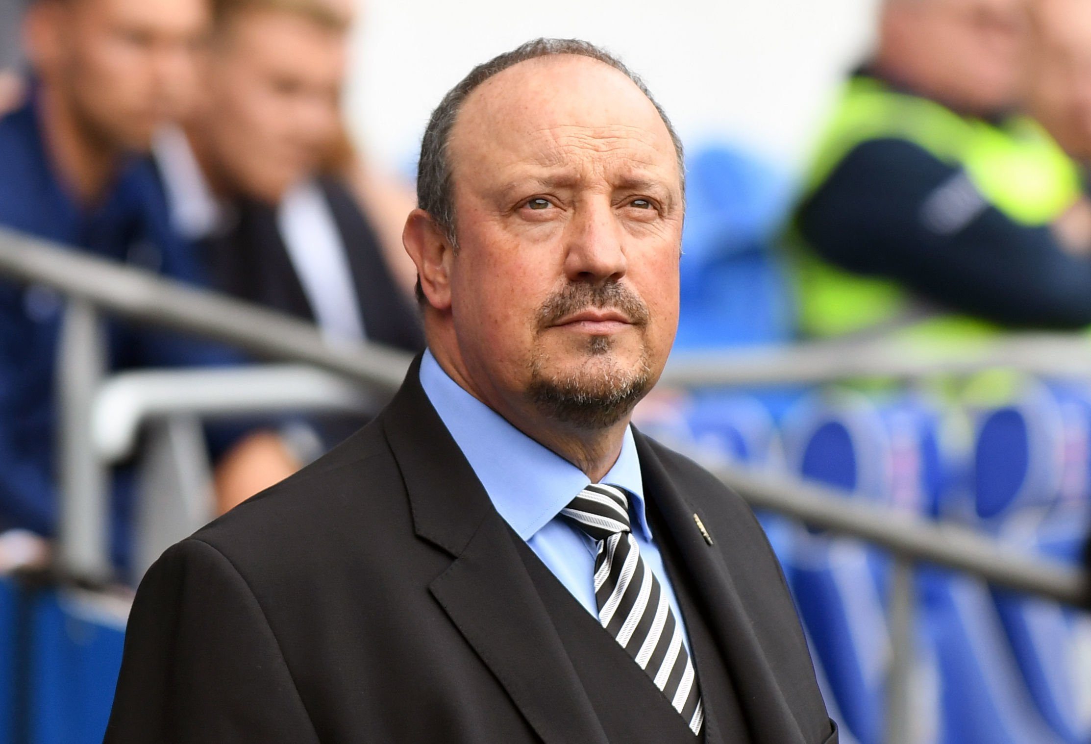 "Newcastle United manager Rafael Benitez during the Premier League match at the Cardiff City Stadium. PRESS ASSOCIATION Photo. Picture date: Saturday August 18, 2018. See PA story SOCCER Cardiff. Photo credit should read: Simon Galloway/PA Wire. RESTRICTIONS: EDITORIAL USE ONLY No use with unauthorised audio, video, data, fixture lists, club/league logos or ""live"" services. Online in-match use limited to 120 images, no video emulation. No use in betting, games or single club/league/player publications."