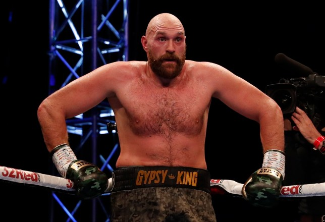 Boxing - Tyson Fury v Francesco Pianeta - Windsor Park, Belfast, Britain - August 18, 2018. Tyson Fury during the fight. Action Images via Reuters/Lee Smith