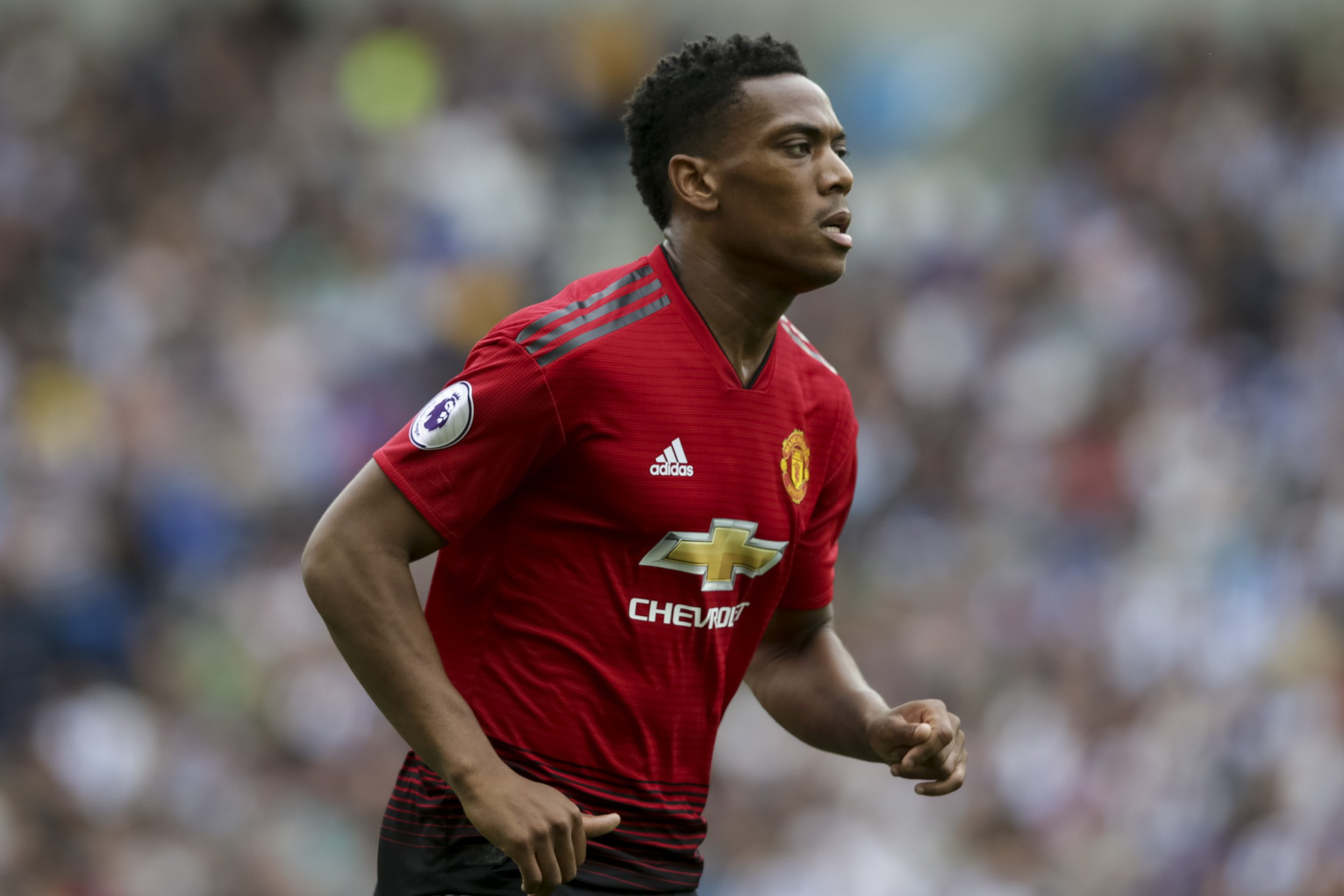 Anthony Martial of Manchester United during the Premier League match between Brighton and Hove Albion and Manchester United at the American Express Community Stadium, Brighton and Hove, England on 19 August 2018. Photo by Robin Jones/Digital South.