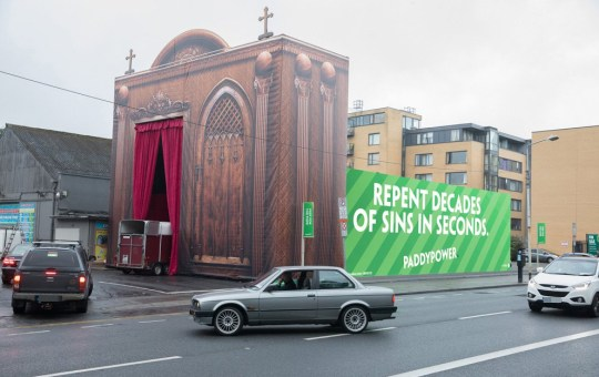 (Picture: Paddy Power) Paddy Power have erected a giant drive-thru confession box in Dublin ?to help the people of Ireland repent decades of sins in seconds? ahead of the Pope?s visit this weekend.The Irish bookmaker built the 13-metre-wide x 12m high x 26m deep structure, to ensure ?the sheer scale will be big enough to withstand the full spectrum of sin? ? providing an express lane to eternal salvation for Ireland?s lapsed Catholics.