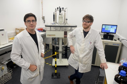 PhD student Dr Harry Destecroix (left) and Michael Tomsett. See SWNS story SWRICH; A Bristol University PhD student is set to become one of the richest men in the South West after his company was sold for around $800million (?626million). The university?s spin-out company Ziylo has been acquired by global healthcare company Novo Nordisk in a deal that is one of the biggest in the university?s history. Set up by Professor Anthony Davis together with his PhD student Dr Harry Destecroix and businessman Tom Smart, the deal could lead to the development of the world?s first glucose-responsive insulin and transform the treatment of diabetes.