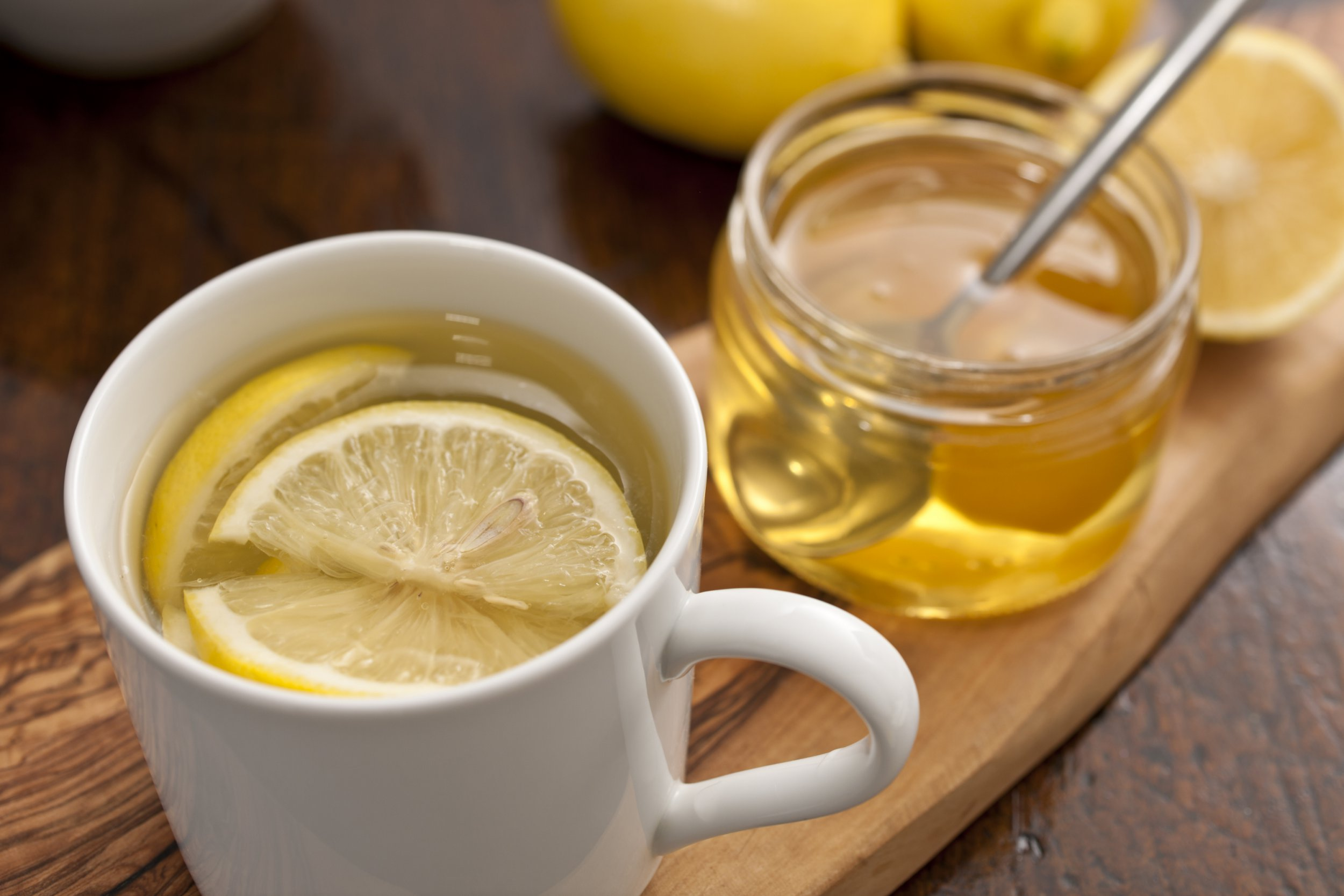 hot water, honey and lemons, a home made cold-flu remedy