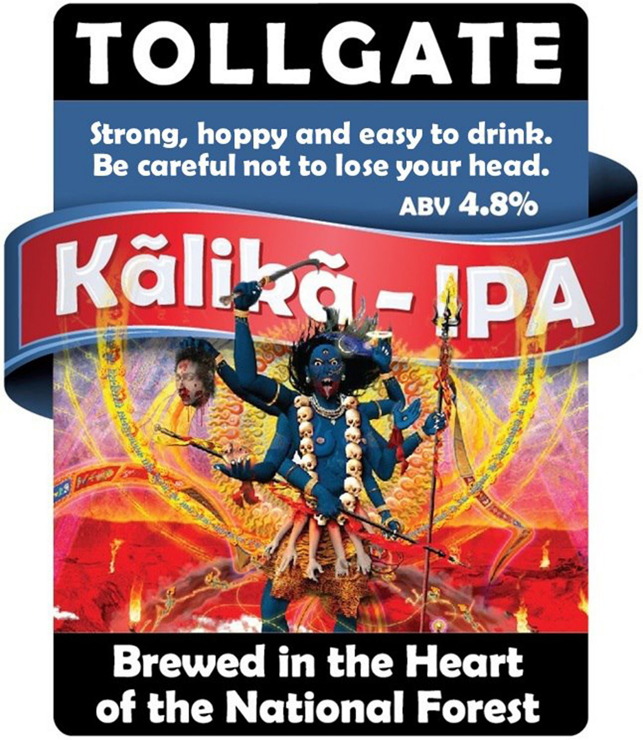 """Undated handout photo issued by the Universal Society of Hinduism of the Tollgate Brewery image for its Kalika IPA, as the brewery has been urged to apologise over the """"highly inappropriate"""" use of the Hindu goddess Kalika. PRESS ASSOCIATION Photo. Issue date: Thursday August 23, 2018. The brewery said it has withdrawn the beer and does not plan to brew it in the future. See PA story RELIGION Beer. Photo credit should read: Rajan Zed/PA Wire"""