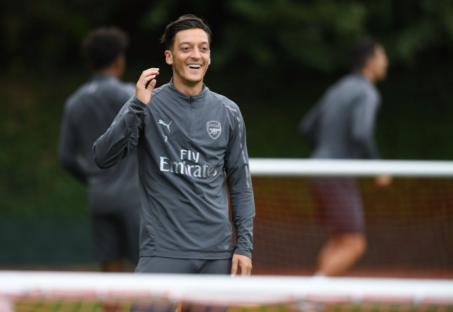 ST ALBANS, ENGLAND - AUGUST 23: Mesut Ozil of Arsenal during Arsenal Training Session at London Colney on August 23, 2018 in St Albans, England. (Photo by David Price/Arsenal FC via Getty Images)