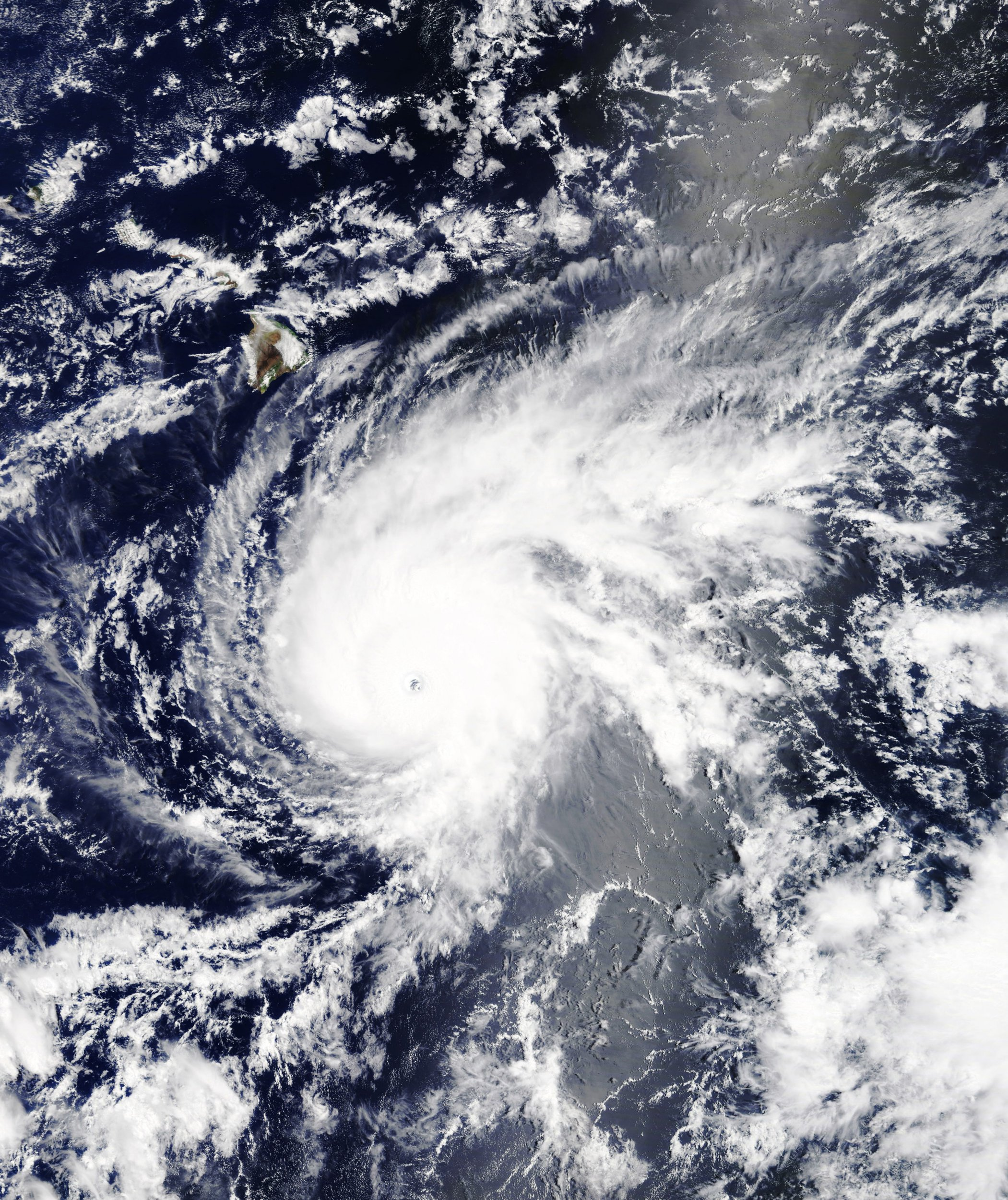At 10:45 a.m. Hawaii Standard Time on August 21, 2018, the Moderate Resolution Imaging Spectroradiometer (MODIS) on NASA's Terra satellite acquired this natural-color image of Hurricane Lane. Around that time, Lane was a powerful category 4 hurricane with maximum sustained winds of 250 kilometers (155 miles) per hour. The storm's center was 575 miles south-southeast of Honolulu. By that evening, Lane intensified to a category 5 storm. NASA/UPIPHOTOGRAPH BY UPI / Barcroft Images