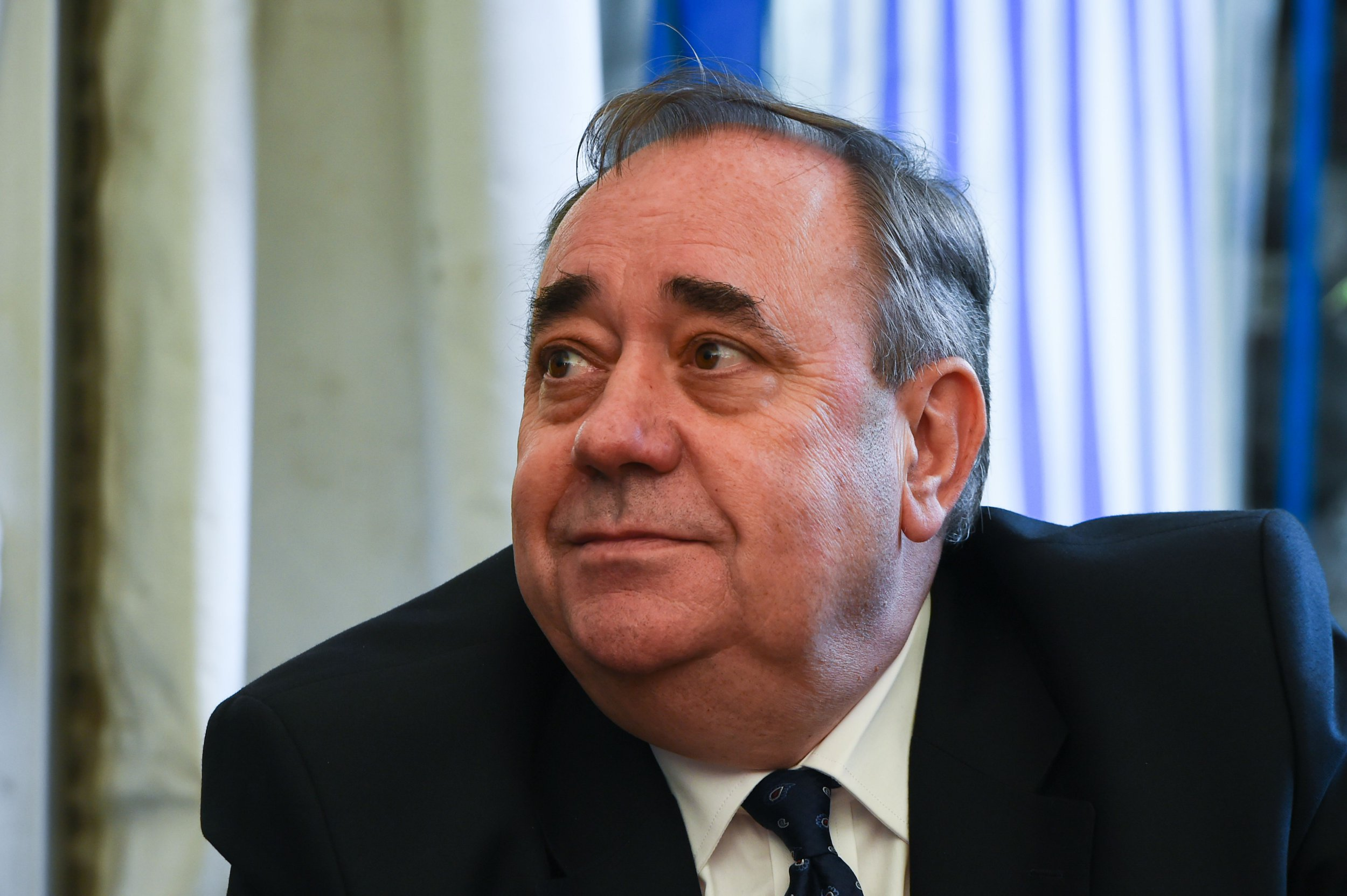 Former First Minister of Scotland Alex Salmond sits at a table with journalists in Linlithgow, west of Edinburgh, on August 24, 2018. - Alex Salmond, the former nationalist leader who took Scotland to the brink of independence in 2014, has denied accusations of sexual misconduct which were reported in a Scottish newspaper on Friday. (Photo by ANDY BUCHANAN / AFP)ANDY BUCHANAN/AFP/Getty Images