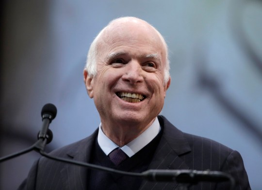 FILE - In this Oct. 16, 2017 file photo, Sen. John McCain, R-Ariz., receives the Liberty Medal from the National Constitution Center in Philadelphia. McCain's family says the Arizona senator has chosen to discontinue medical treatment for brain cancer. (AP Photo/Matt Rourke)