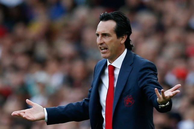Arsenal's Spanish head coach Unai Emery reacts on the touchline during the English Premier League football match between Arsenal and West Ham United at the Emirates Stadium in London on August 25, 2018. (Photo by Ian KINGTON / AFP) / RESTRICTED TO EDITORIAL USE. No use with unauthorized audio, video, data, fixture lists, club/league logos or 'live' services. Online in-match use limited to 120 images. An additional 40 images may be used in extra time. No video emulation. Social media in-match use limited to 120 images. An additional 40 images may be used in extra time. No use in betting publications, games or single club/league/player publications. / IAN KINGTON/AFP/Getty Images
