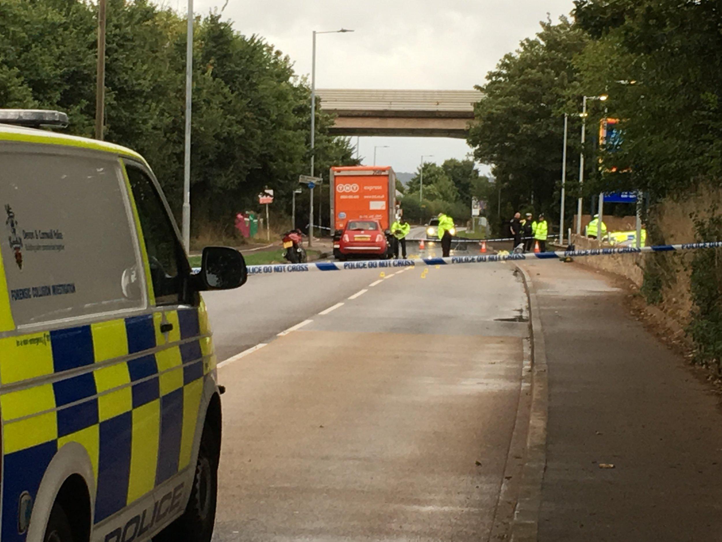Police at tje scene of fatal crash between motorcyclist and elderly pedestrian outside Aldi on Topsham Road, Exeter. Credit: Bridget Batchelor Rate agreed - ??50 for set
