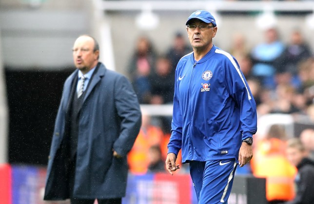 "Chelsea manager Maurizio Sarri (right) and Newcastle United manager Rafael Benitez during the Premier League match at St James' Park, Newcastle. PRESS ASSOCIATION Photo. Picture date: Sunday August 26, 2018. See PA story SOCCER Newcastle. Photo credit should read: Owen Humphreys/PA Wire. RESTRICTIONS: EDITORIAL USE ONLY No use with unauthorised audio, video, data, fixture lists, club/league logos or ""live"" services. Online in-match use limited to 120 images, no video emulation. No use in betting, games or single club/league/player publications."