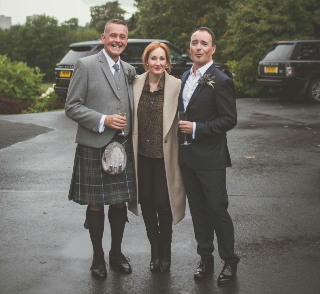 "A SCOTS couple were left flabbergasted after their wedding shoot was photobombed by JK Rowling. Stunned grooms Nick and John, were married at Prestonfield House, in Edinburgh, yesterday. The pair were so excited at seeing their Harry Potter idol make a surprise appearance that they were ""bleeping like Beaker from the Muppets"". Photographer Matt Fothergill, from Edinburgh, managed to capture the spellbinding moment with the Scots author and the loved-up pair. The photographs captured the grinning grooms and a red-headed Rowling posing outside of the stunning 5-star hotel. The author is believed to have been at the hotel for a Sunday lunch - which costs ?29 for three courses."