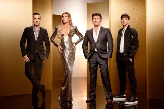 This image is strictly embargoed until 00.01 Tuesday 28th August 2018 From Thames/Syco The X Factor: SR15 on ITV Pictured: Robbie Williams, Ayda Field, Simon Cowell and Louis Tomlinson. This photograph is (C) Thames/Syco/ITV and can only be reproduced for editorial purposes directly in connection with the programme or event mentioned above, or ITV plc. Once made available by ITV plc Picture Desk, this photograph can be reproduced once only up until the transmission [TX] date and no reproduction fee will be charged. Any subsequent usage may incur a fee. This photograph must not be manipulated [excluding basic cropping] in a manner which alters the visual appearance of the person photographed deemed detrimental or inappropriate by ITV plc Picture Desk. This photograph must not be syndicated to any other company, publication or website, or permanently archived, without the express written permission of ITV Plc Picture Desk. Full Terms and conditions are available on the website www.itvpictures.co.uk For further information please contact: james.hilder@itv.com / 0207 157 3052