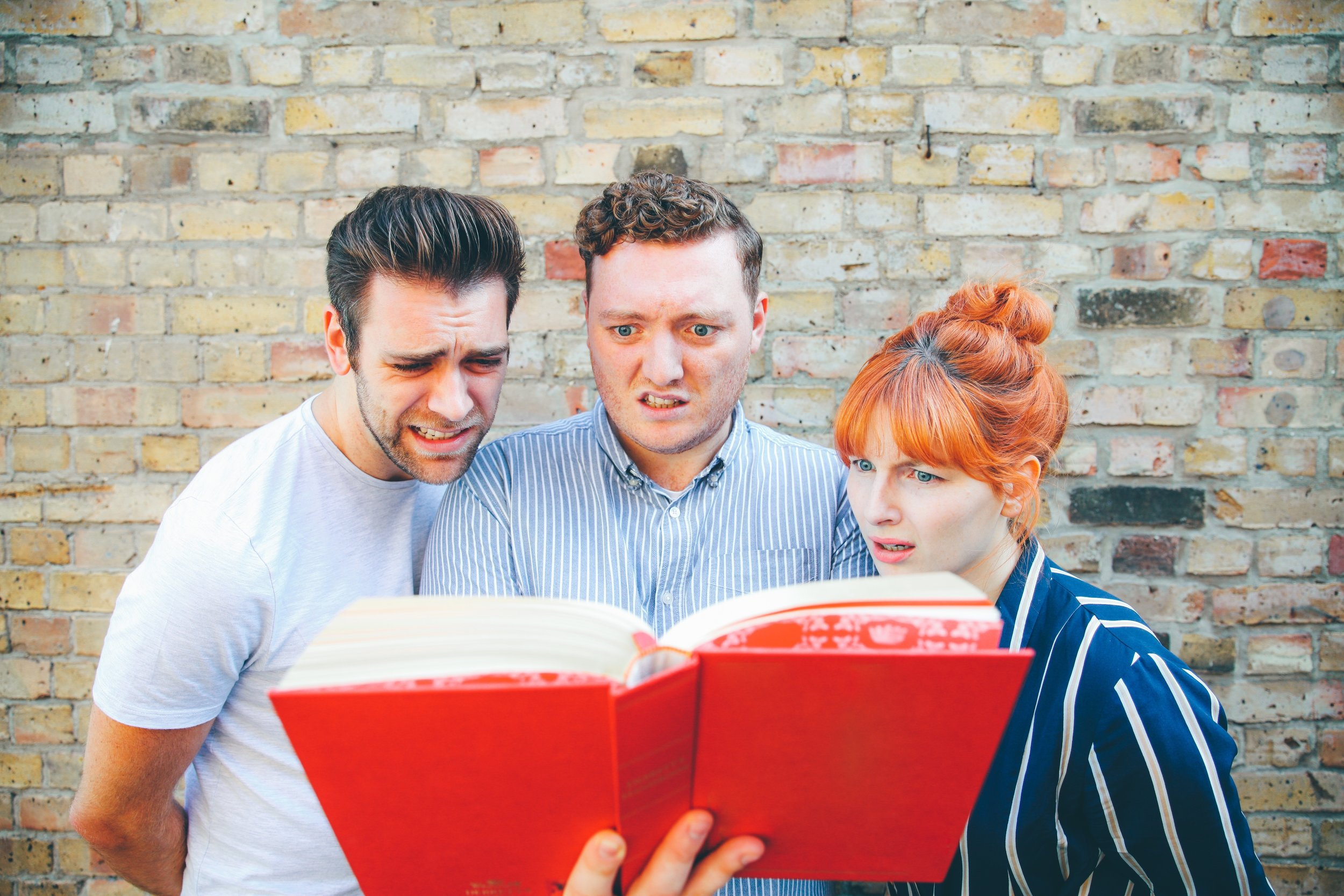 The stars of the podcast 'My Dad Wrote a Porno' (left to right) James Cooper, Jamie Morton and Alice Levine ** NO CREDIT**
