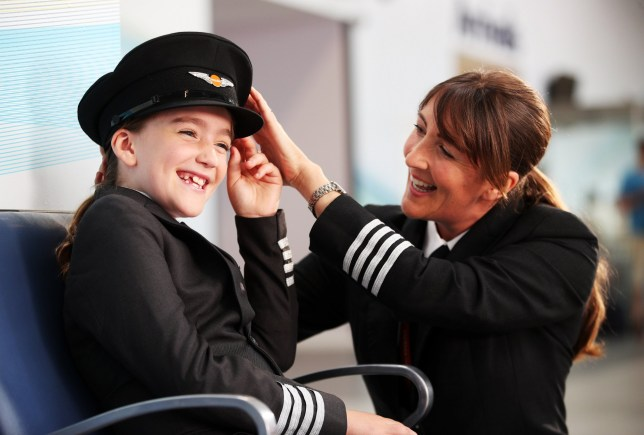 Children of easyJet staff recreate a famous scene from Hollywood blockbuster Catch Me If You Can at London Southend Airport to mark the launch of a national campaign to inspire more girls to become airline pilots. Leading the cast is 9-year-old Hannah Revie, daughter of easyJet captain Emily Revie, playing the central role portrayed by Leonardo DiCaprio in the 2002 film. By re-shooting the movie scene, easyJet wants to correct misconceptions forwarded by Hollywood movies like Top Gun, The Aviator and Flyboys that being a pilot is a man???s job. Research by the airline reveals that more than half (55%) of male pilots knew they wanted the job by the age of 10, whilst half of women only thought about the career once they were over 16. Over one fifth (22%) of male pilots were already sold on the job by the age of five. easyJet has set a target for 20% of new pilots joining the airline to be women by 2020 at a time when only 5% of all pilots worldwide are female. Featuring: Atmosphere Where: Southend, United Kingdom When: 16 Aug 2018 Credit: Joe Pepler/PinPep/WENN.com