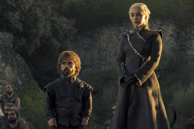 """No Merchandising. Editorial Use Only. No Book Cover Usage Mandatory Credit: Photo by HBO/Kobal/REX/Shutterstock (9036271be) Peter Dinklage, Emilia Clarke """"Game Of Thrones"""" (Season 7) TV Series - 2017"""