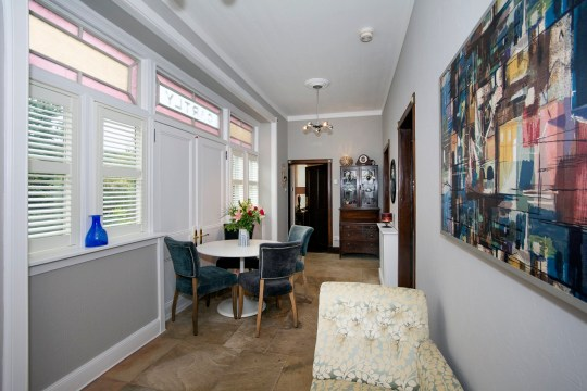 A former train station that's now a two-bedroom house is on