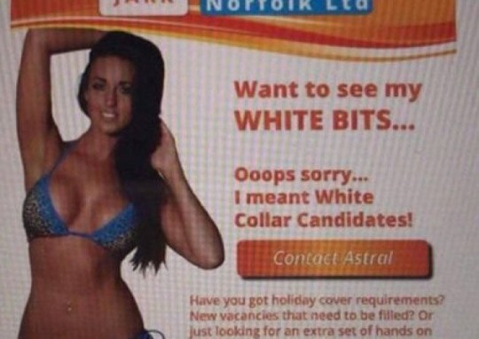 METRO GRAB - from Mail system originally from website (removed) Recruitment firm sparks anger with 'sexist' ad of woman in bikini asking 'want to see my white bits?' Jark Norfolk