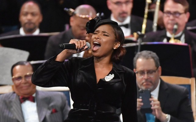 US singer Jennifer Hudson performs at Aretha Franklin's funeral at Greater Grace Temple on August 31, 2018 in Detroit, Michigan. (Photo by Angela Weiss / AFP)ANGELA WEISS/AFP/Getty Images
