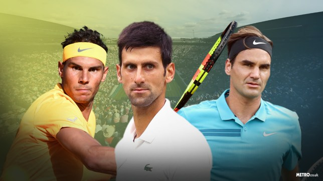 Rafael Nadal, Novak Djokovic and Roger Federer look on