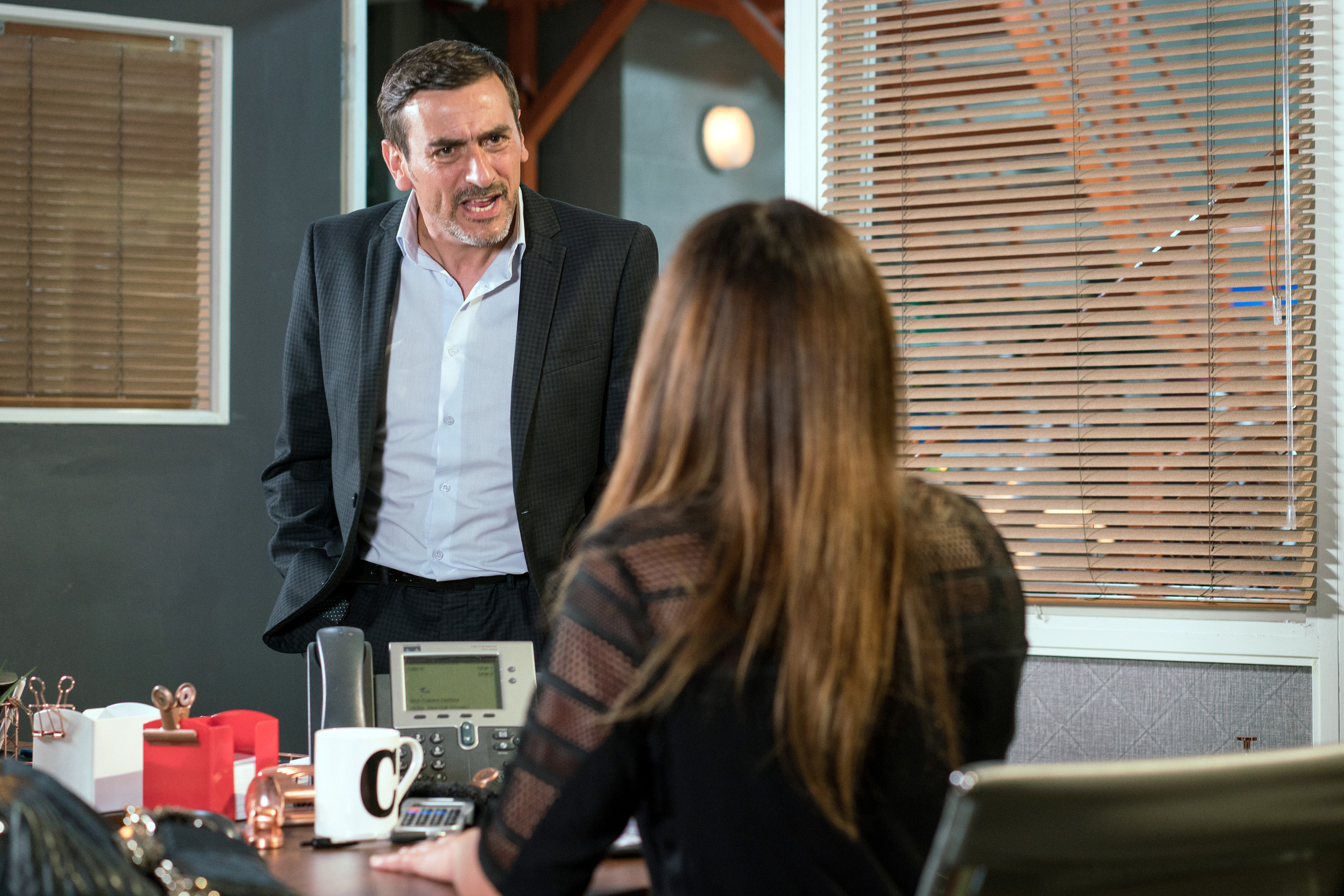 Peter and Carla argue in Coronation Street