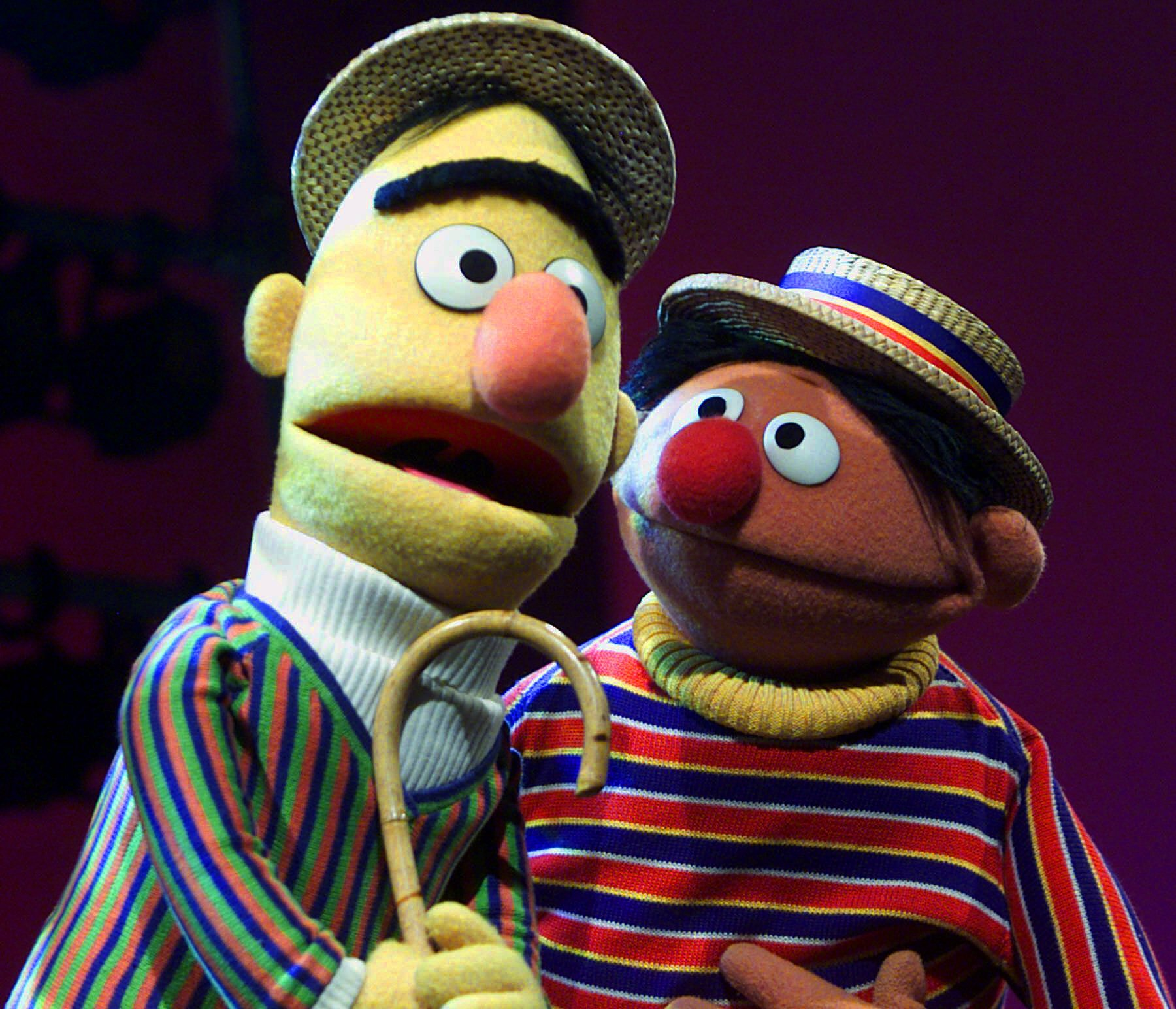 """Muppets Bert, left, and Ernie, from the children's program """"Sesame Street,"""" are shown in New York. An online petition calling for the nuptials of Muppet flat-mates Bert and Ernie has sparked controversy. Chicago resident Lair Scott, who posted the petition, is seeking matrimony for the """"Sesame Street"""" chums as a way to make gay and lesbian kids who watch the show feel better about themselves, and to promote tolerance for people who are different. Sesame Workshop, which produces the long-running children's series, declared in a statement, """"They were created to teach preschoolers that people can be good friends with those who are very different from themselves."""" (AP Photo/Beth A. Keiser, file)"""