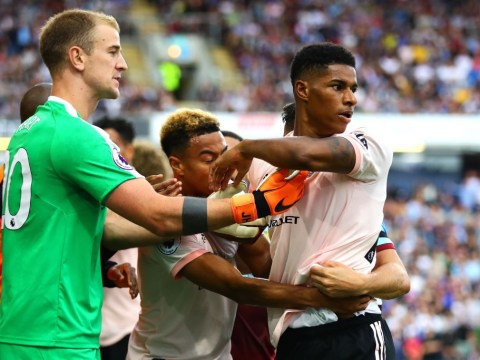 Furious Marcus Rashford kicked door in anger after Burnley red card