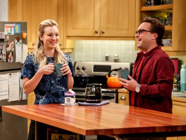 Kaley Cuoco as Penny and Johnny Galecki as Leonard Hofstadter on The Big Bang Theory