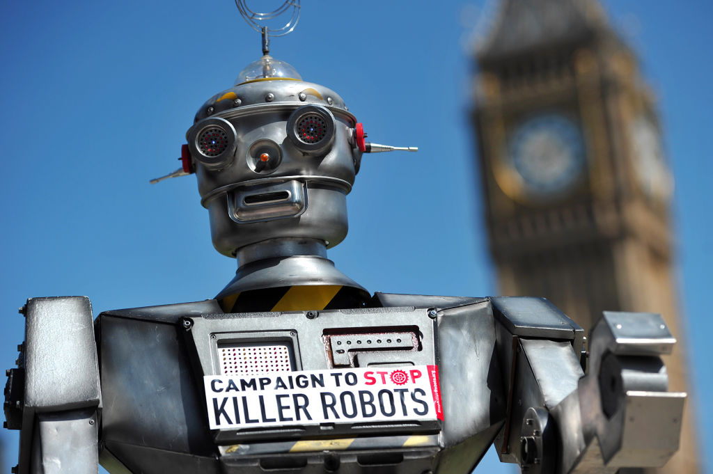 "A mock ""killer robot"" is pictured in central London on April 23, 2013 during the launching of the Campaign to Stop ""Killer Robots,"" which calls for the ban of lethal robot weapons that would be able to select and attack targets without any human intervention. The Campaign to Stop Killer Robots calls for a pre-emptive and comprehensive ban on the development, production, and use of fully autonomous weapons. AFP PHOTO/CARL COURT / AFP PHOTO / CARL COURT (Photo credit should read CARL COURT/AFP/Getty Images)"