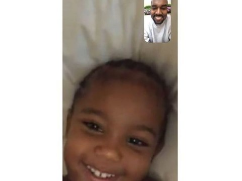 Kanye West has same smile as son Saint as he shares FaceTime snap